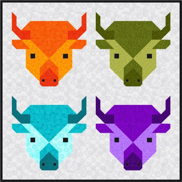 Buffalo or Bison quilt block tutorial
